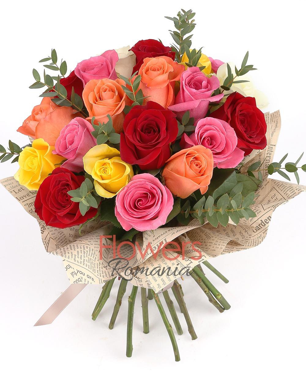 21 Multicolored Roses