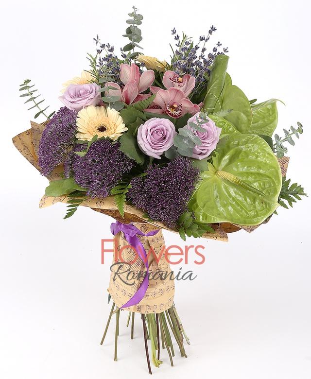 3 pink roses, 3 cream gerbera, 1 pink cymbidium, 3 purple trachelium, 2 green anthurium, lavender, greenery