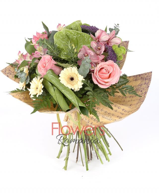 2 pink roses, 3 pink alstroemeria 2 purple trachelium, 2 green santini, 3 cream gerbera, 1 pink cymbidium, 2 green anthurium, greenery