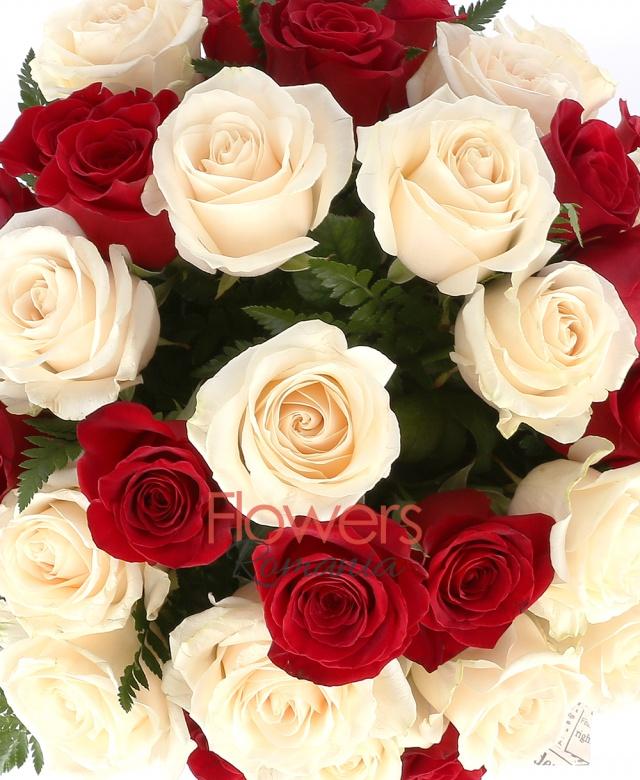 15 trandafiri rosii, 14 trandafiri albi, ferigă
