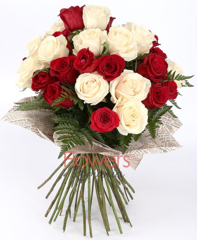 15 red roses, 14 white roses, fern