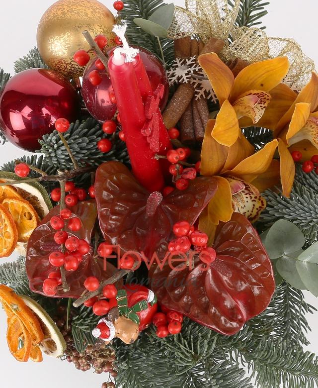 3 anthurium roșu, ilex, 1 cymbidium galben, 3 globuri, fructe uscate, 2 lumânări mici, scorțișoară,brad