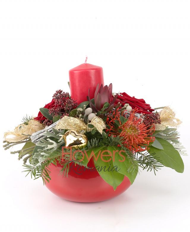 2 red roses, 3 red gerbera, 1 leucospermum, 1 leucadendron, twigs, fir, christmas decorations