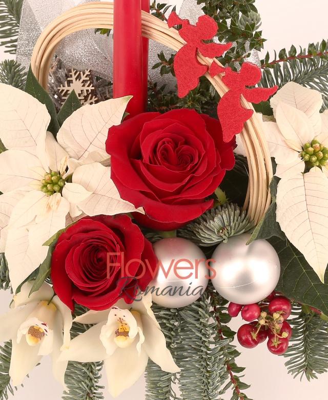 2 trandafiri rosii, 2 poinsettia alba, 1 cymbidium alb, 2 hypericum roșu, 2 globuri, 2 lumânări mici, curly, brad