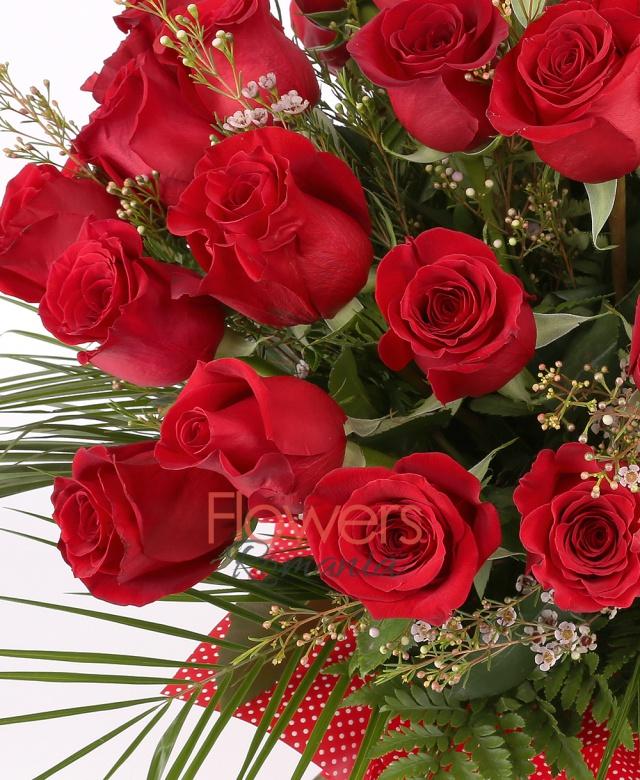 39 trandafiri rosii, waxflower, robelini, ferigă
