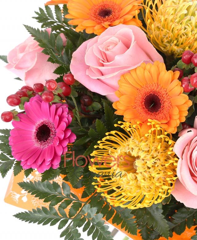 3 trandafiri roz, 2 trandafiri rosii, 5 hypericum roșu, 4 gerbera ciclam, 4 gerbera portocaliu, 4 leucospermum galben, ferigă