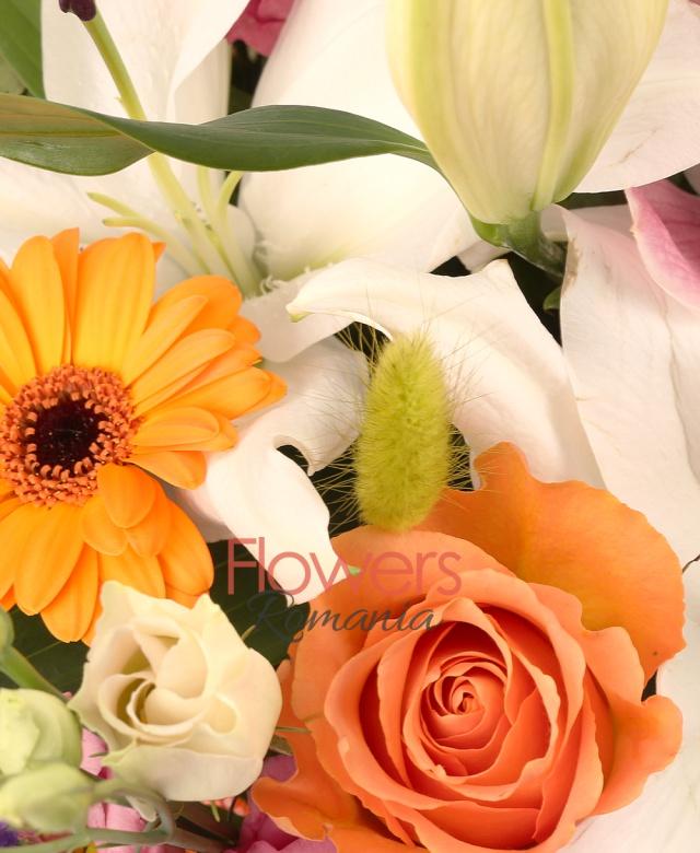 2 crini albi, 3 hypericum roșu, 1 cymbidium grena, limonium, 5 lisianthus roz, 10 lagurus verde, 5 trandafiri portocalii, 3 gerbera portocaliu, salal