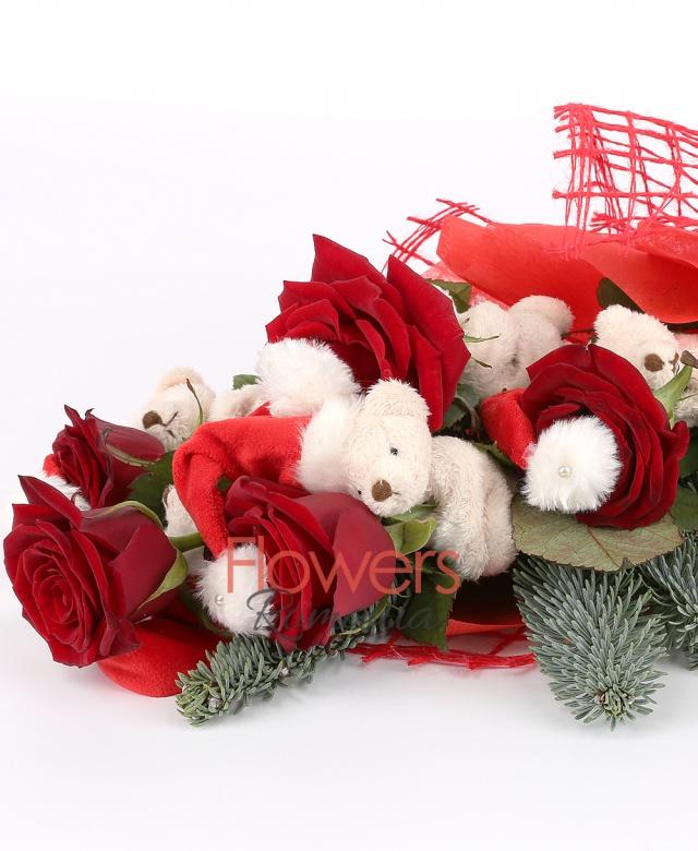 5 trandafiri rosii, 5 ursuleți brad