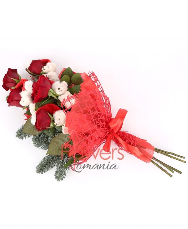 5 red roses, 5 teddy bears, fir