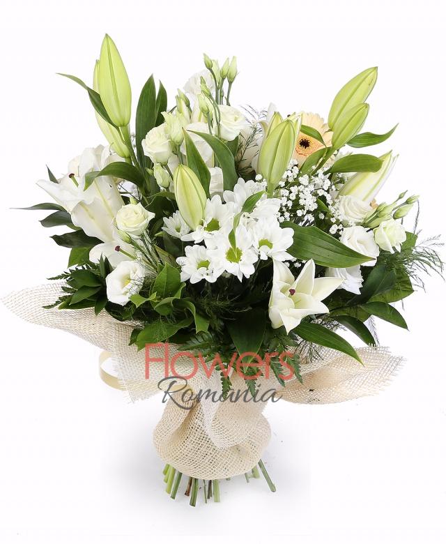 3 white lilies, 3 gerbera, 3 white roses, 5 white lisianthus, 2 white chrysanthemums, greenery