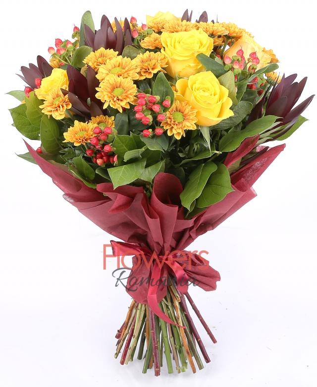 5 yellow roses, 5 leucadendron, 5 santini / orange chrysanthemums, 8 red hypericum, greenery