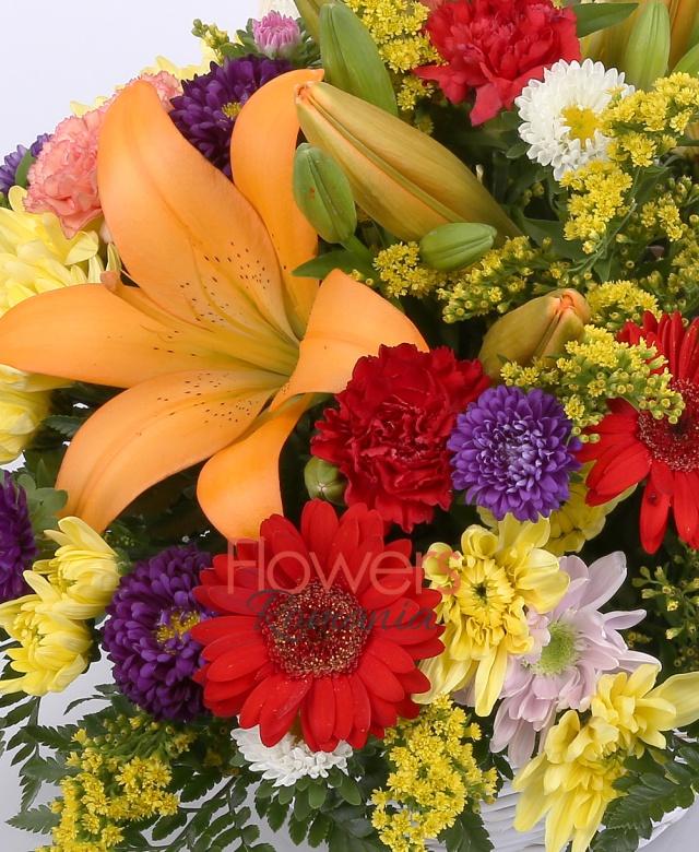coș, 2 crini portocalii, 3 crizanteme galbene, 3 gerbera rosii, 5 garoafe rosii, 5 garoafe portocalii, 3 crizantemă mov, solidago