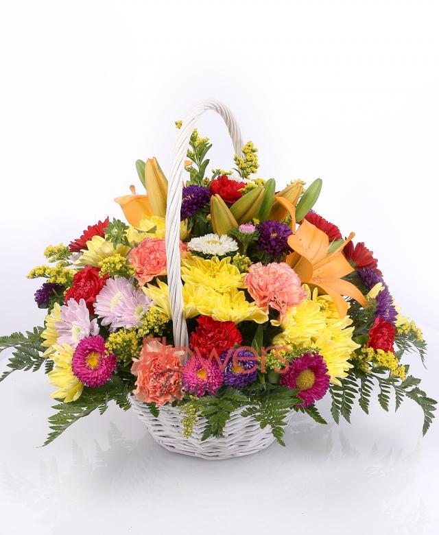 2 orange lilies, 3 yellow chrysanthemums, 3 red gerberas, 5 red carnations, 5 orange carnations, 3 purple chrysanthemums, solidago