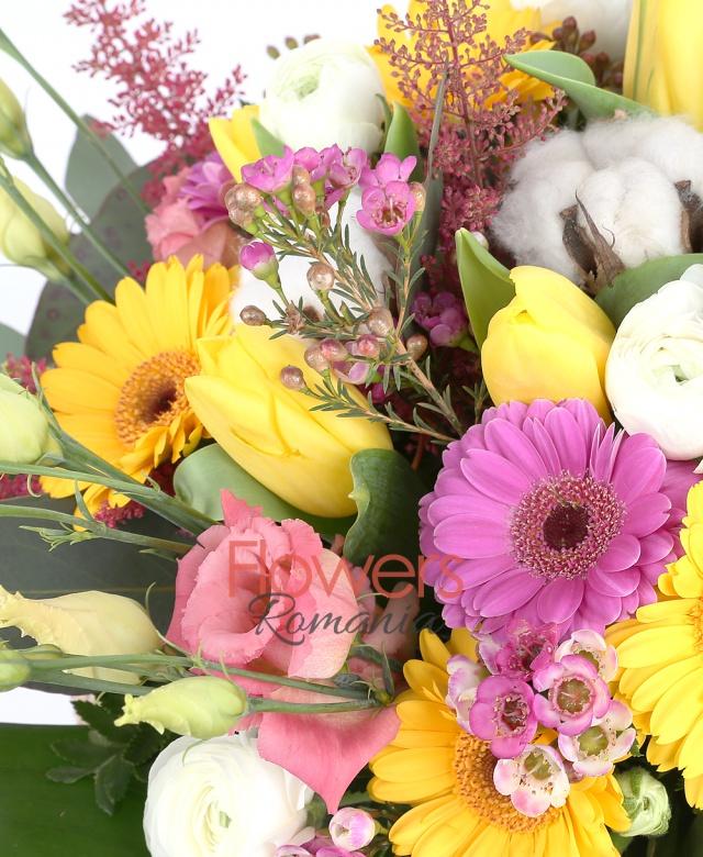 5 yellow gerbera, 3 pink gerbera, 10 yellow tulips, 3 yellow callas, 1 green cymbidium , 3 green santini, 3 pink lisianthus, 5 craspedia, 10 ranunculus 3 astilbe, cotton, waxflower, greenery