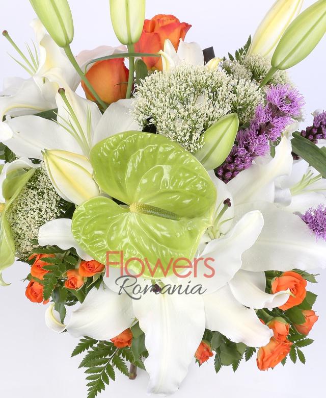 2 crini albi, 4 trandafiri portocalii, 3 liatris, 2 miniroze portocalii, 2 anturium verde, 3 trahelium alb