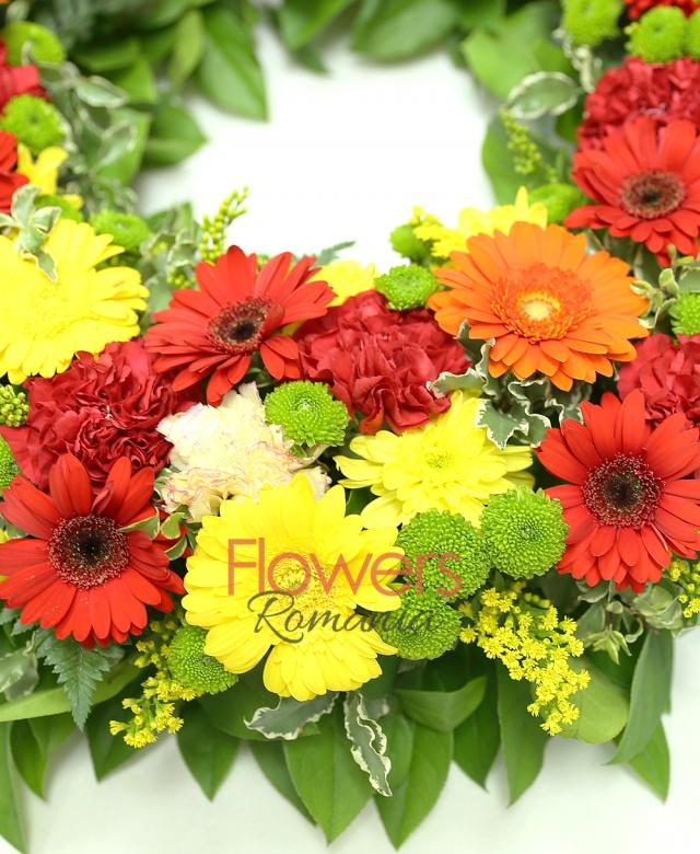 colac funerar, 12 gerbera roșie, 10 gerbera galbenă, 5 gerbera portocalie, 10 garoafe roz, 10 garoafe rosii, 4 crizanteme galbene, 8 santini verde, solidago, salal, pittosporum