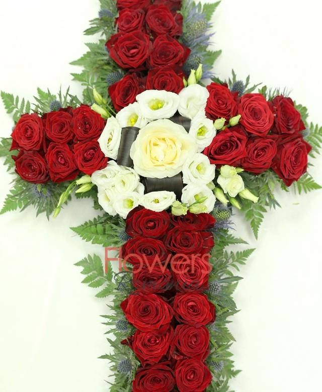 34 red roses, 1 white rose, 5 white lisianthus , 10 eryngium