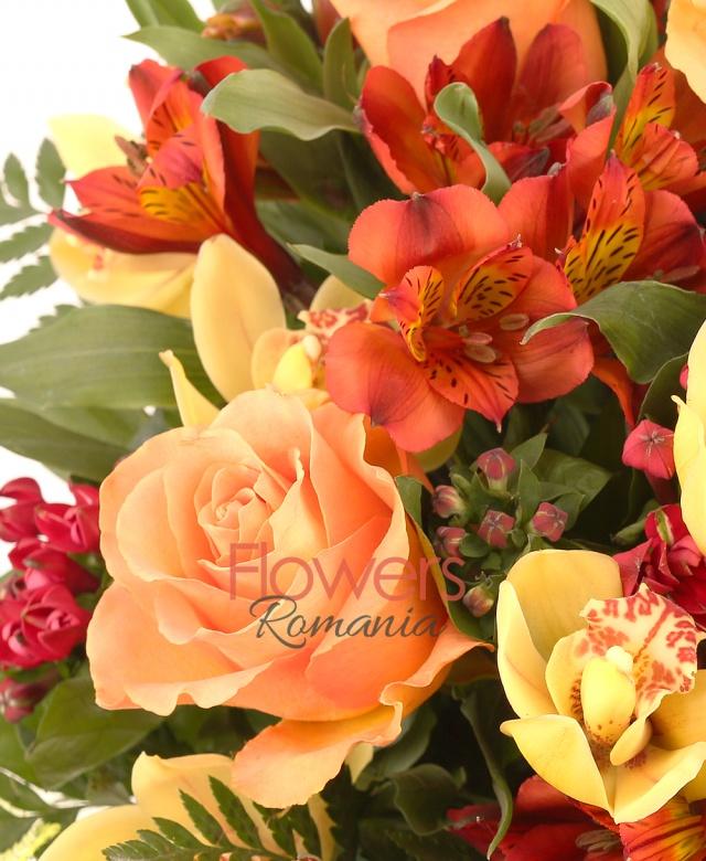 1 yellow cymbidium, 7 grena bouvardia, 5 orange roses, 7 orange alstroemeria