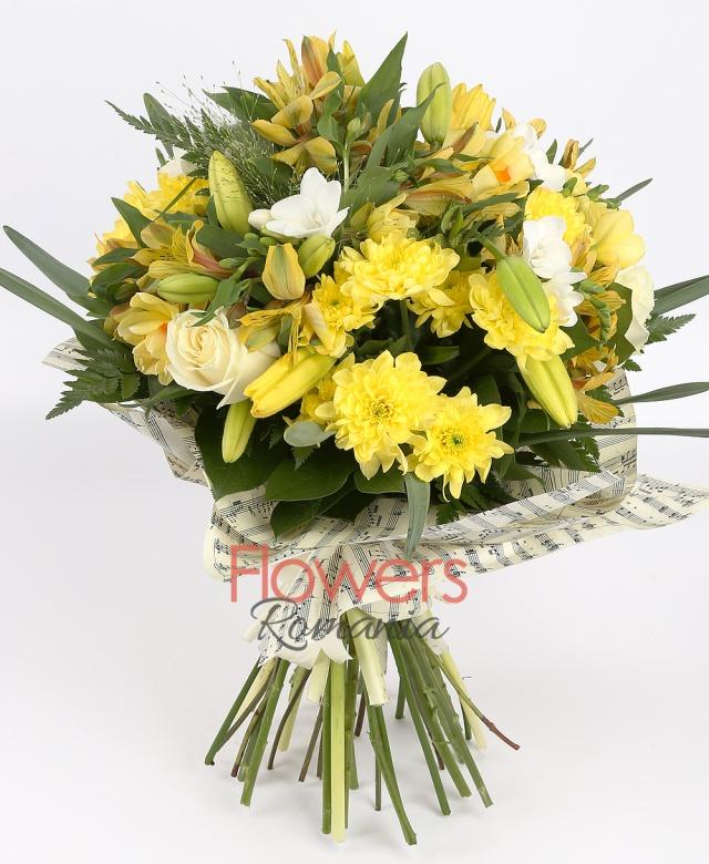 2 yellow lilies, 3 white roses, 3 white freesia, 5 yellow alstroemeria, 3 yellow chrysanthemums,greenery