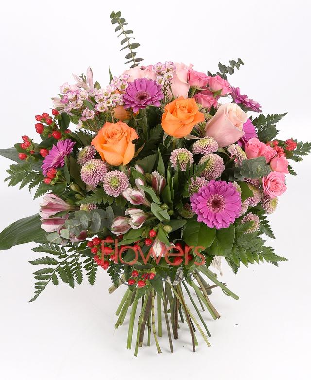3 pink roses, 3 orange roses, 5 gerbera, 3 pink miniroze, 5 red hypericum, 3 pink alstroemeria, 3 pink santini, waxflower, greenery