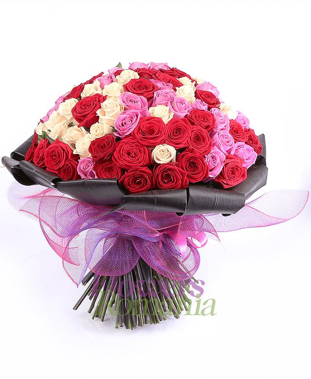 33 red roses, 33 pink roses, 33 cream roses