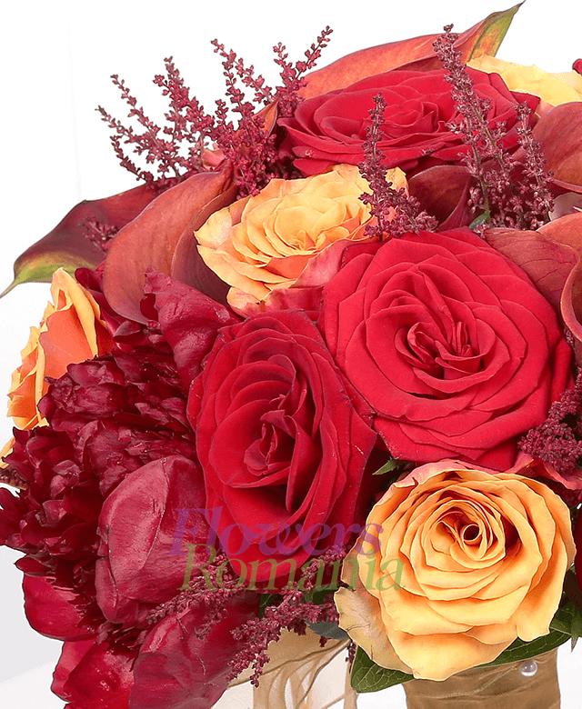 5 trandafiri rosii, 7 trandafiri portocalii, 5 cale mango, 5 bujori grena, 10 astilbe, 1 clematis