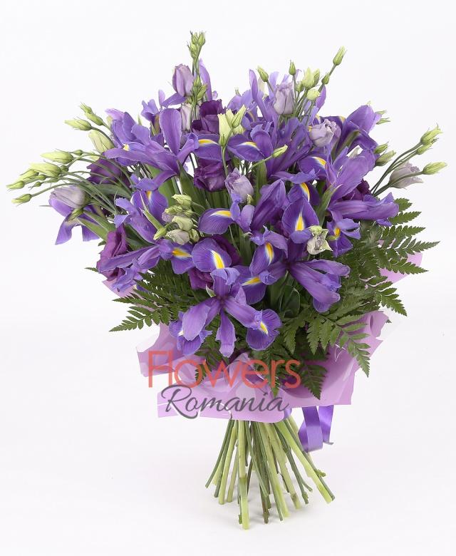 10 purple lisianthus , 15 purple iris