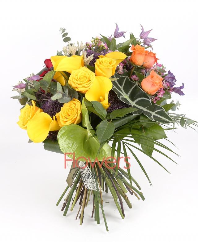 3 orange roses, 4 yellow roses, 3 red roses, 5 yellow callas, 3 purple trachelium, 2 anigozanthos, 2 green anthurium, waxflower, clematis, greenery