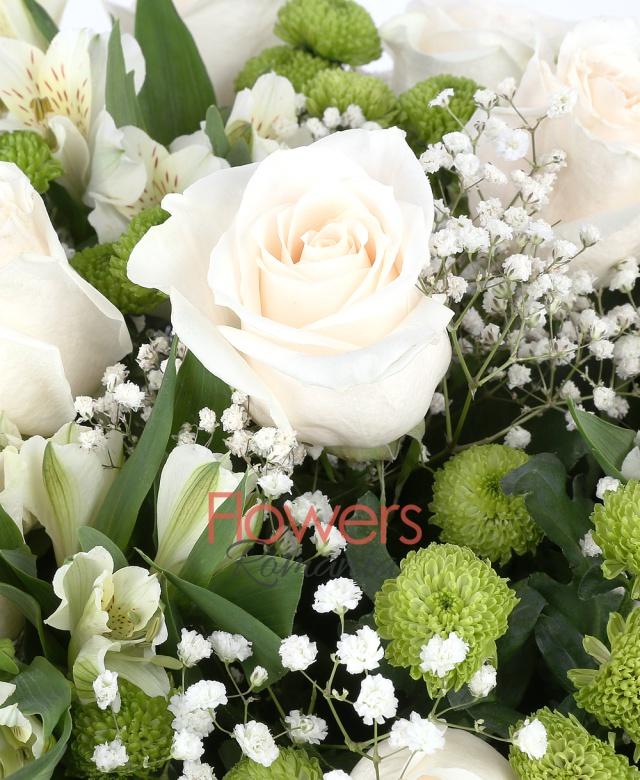 11 white roses, 10 white alstroemeria, 8 green santini, gypsophila