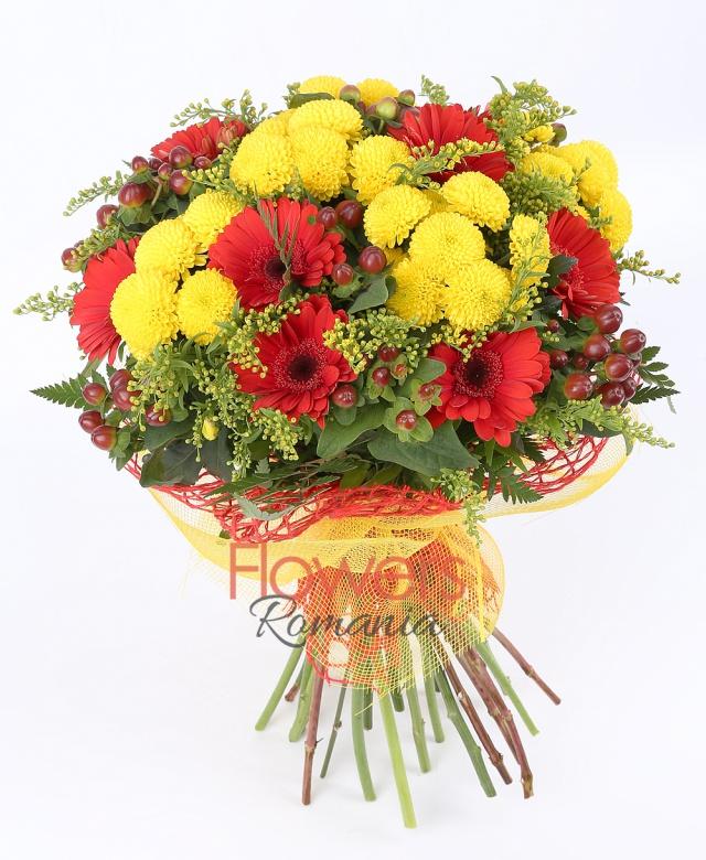 9 red gerbera, 5 yellow chrysanthemums, 5 red hypericum, solidago