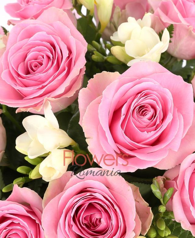 11 trandafiri roz, 10 frezii albe, salal