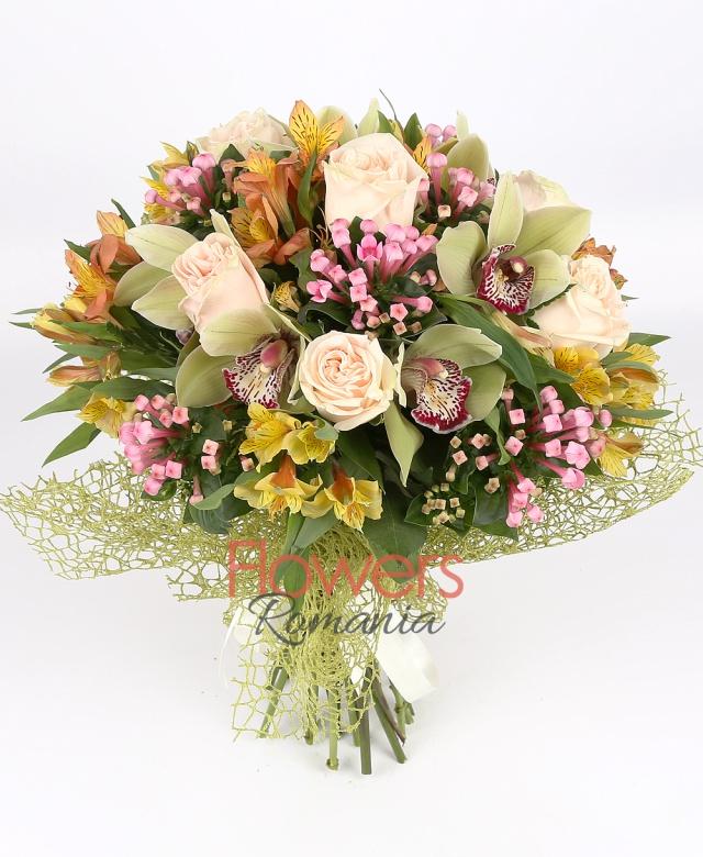 7 cream roses, 1 green cymbidium, 5 orange alstroemeria, 5 pink bouvardia