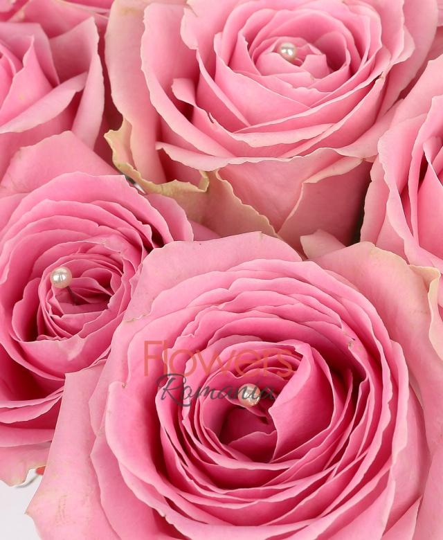 cub, 9 trandafiri roz