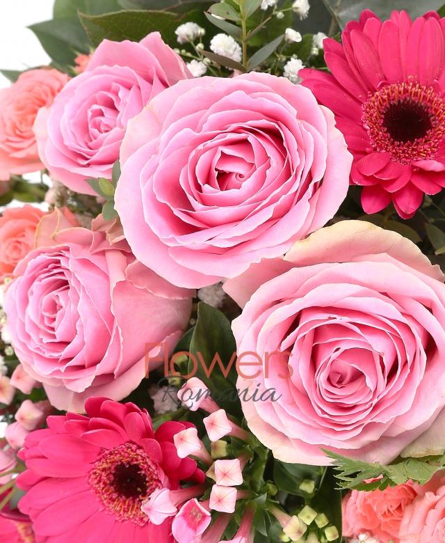 5 trandafiri roz, 5 gerbera ciclam, 2 lisianthus roz, 2 miniroze roz, 2 bouvardia roz, gypsophila, eucalypt