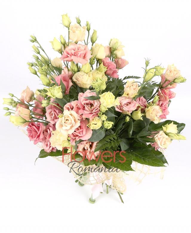 9 pink lisianthus, greenery