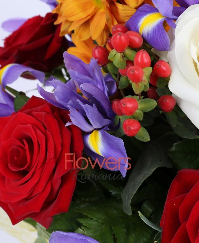 7 trandafiri rosii, 3 trandafiri albi, 10 iris mov, 5 hypericum roșu, 3 crizanteme portocalii