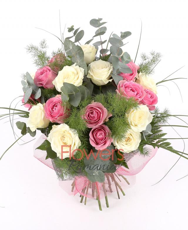 11 cream roses, 10 pink roses, greenery