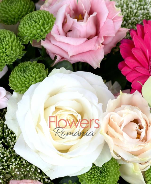 4 trandafiri albi, 3 gerbera ciclam, 3 gerbera roz, 4 santini verde, 4 lisiantus roz, 5 trahelium alb, salal