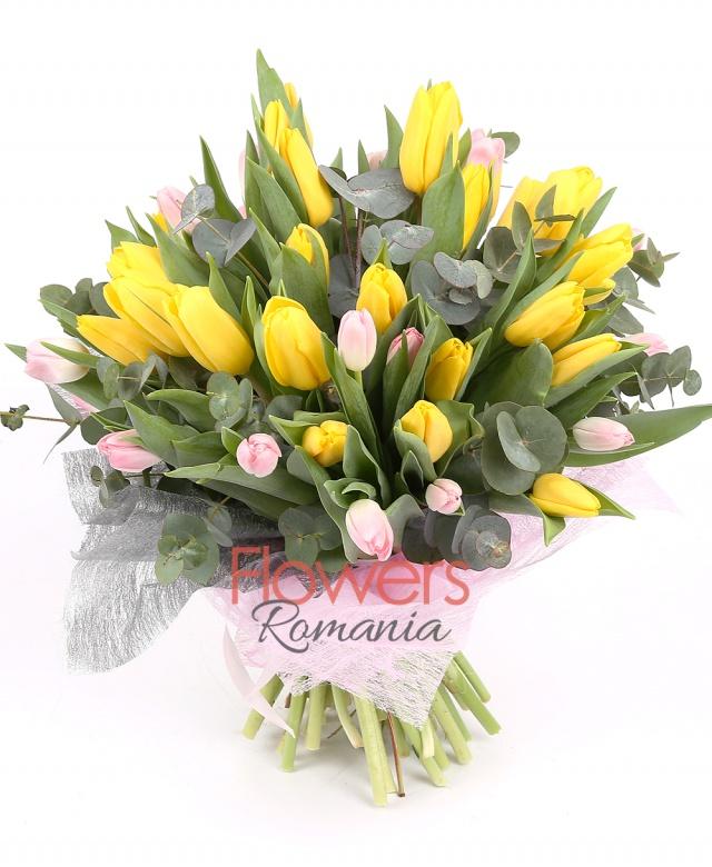 25 yellow tulips, 24 pink tulips, greenery