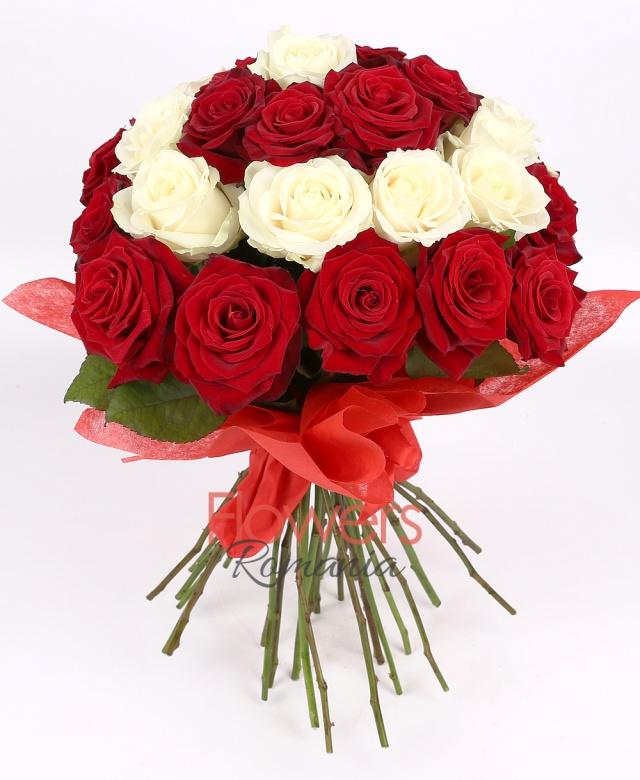 11 white roses, 20 red roses