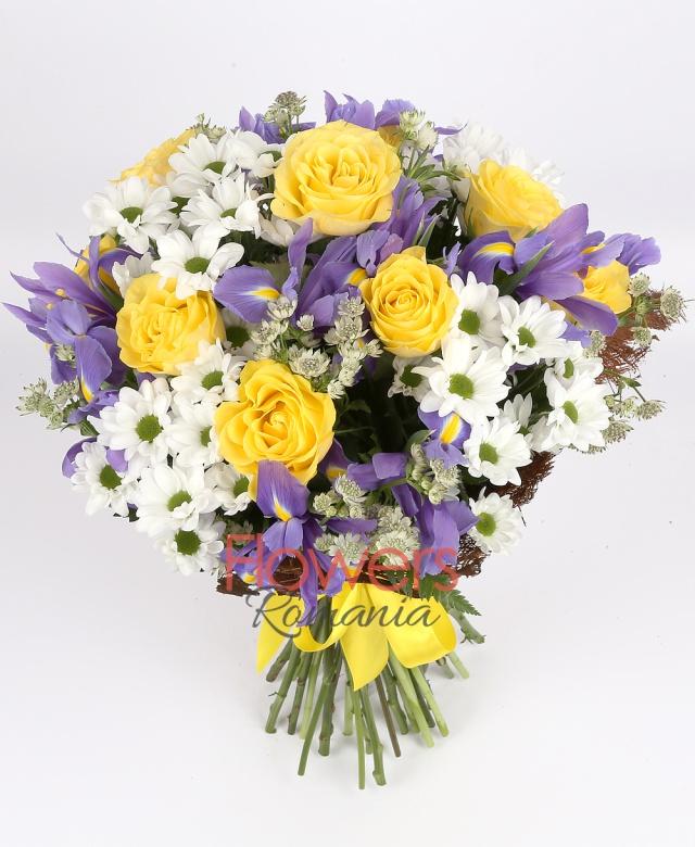 9 yellow roses, 10 purple  iris, 4 white chrysanthemums, astranția, greenery