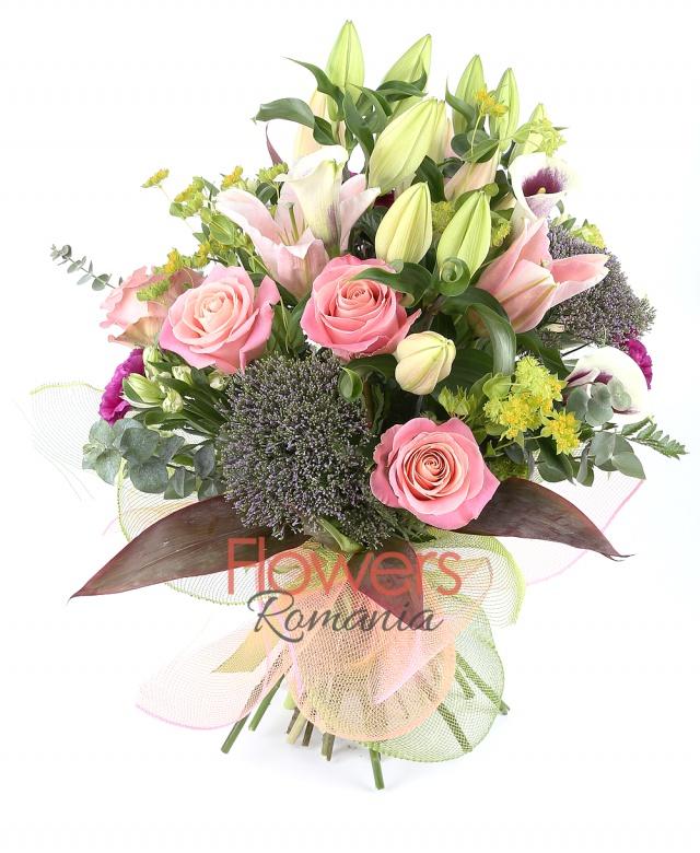 3 cala, 3 trachelium, 5 white alstroemeria , 2 pink lilies, 5 purple carnations, 5 pink roses, greenery