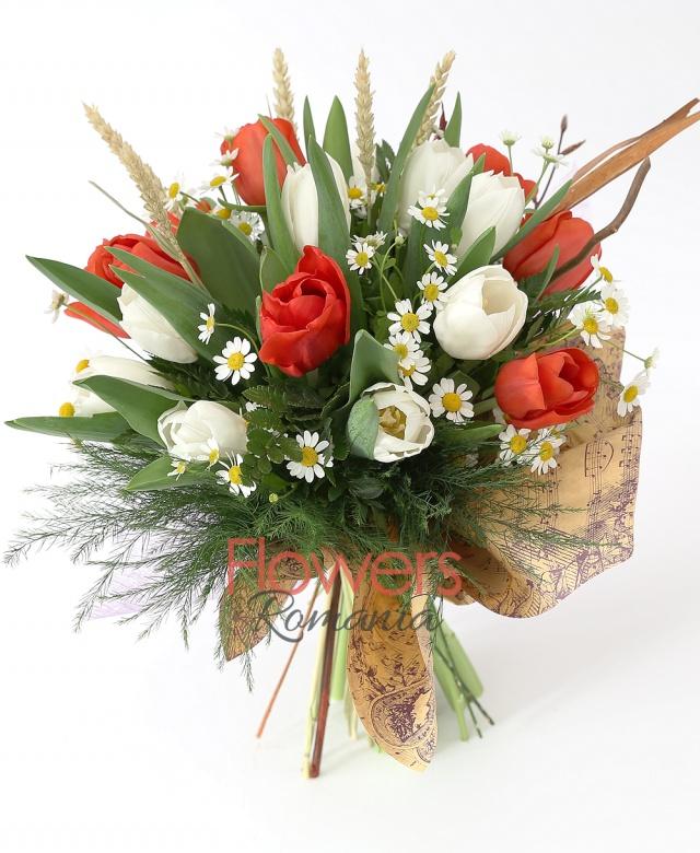 11 white tulips, 10 red tulips, greenery