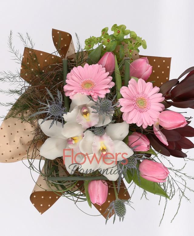 2 pink gerbera, 2 leucadendron, 7 pink tulips, eryngium, cups white cymbidium, greenery