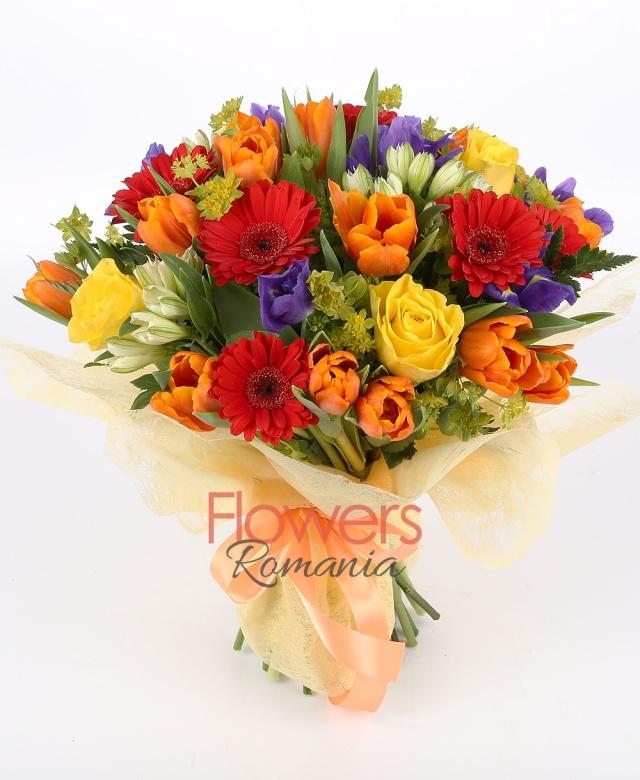10 orange tulips, 7 red gerbera, 7 purple iris , 5 yellow roses, 5 white alstroemeria , bupleurum