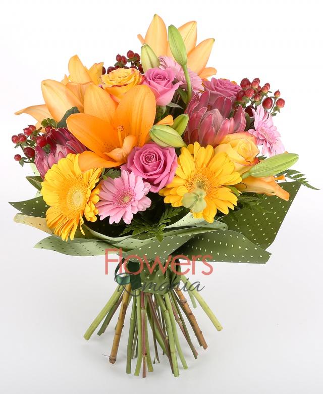 2 orange lilies, 4 pink gerbera, 3 pink roses, 3 yellow roses, 3 gerbera galnene, 3 red hypericum, 2 proteea, greenery