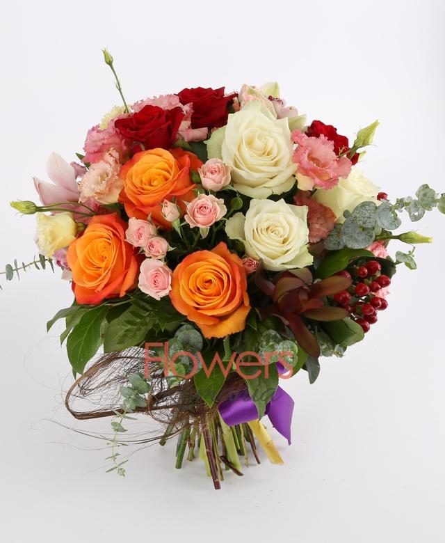 3 orange roses, 3 red roses, 3 white roses, 1 green cymbidium, 2 pink miniroze, 3 pink lisianthus, 3 red hypericum, 2 leucadendron, greenery