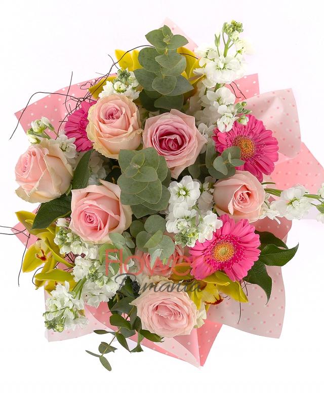 7 pink roses, 3 pink gerbera, 5 white matthiola, 1 green cymbidium, greenery