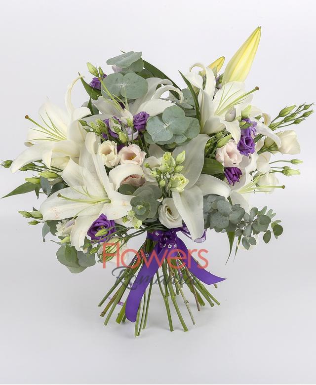 3 white lilies, 5 white lisianthus, 5 purple lisianthus, 5 pink lisianthus, greenery