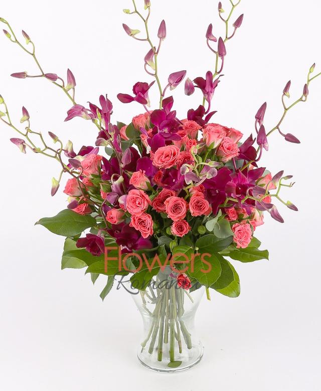 10 purple orchids, 10 pink miniroze, greenery